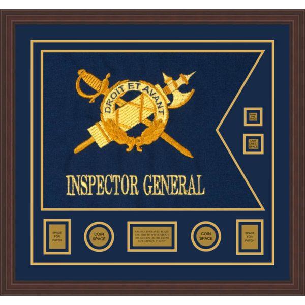 """Inspector General 28"""" x 20"""" Guidon Design 2820-D3-M6 Framed"""