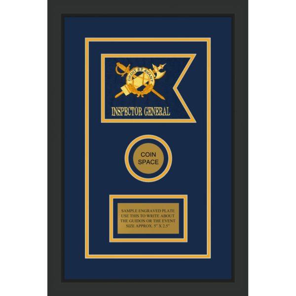 """Inspector General 7"""" x 5"""" Guidon Design 75-D3-M2 Framed"""