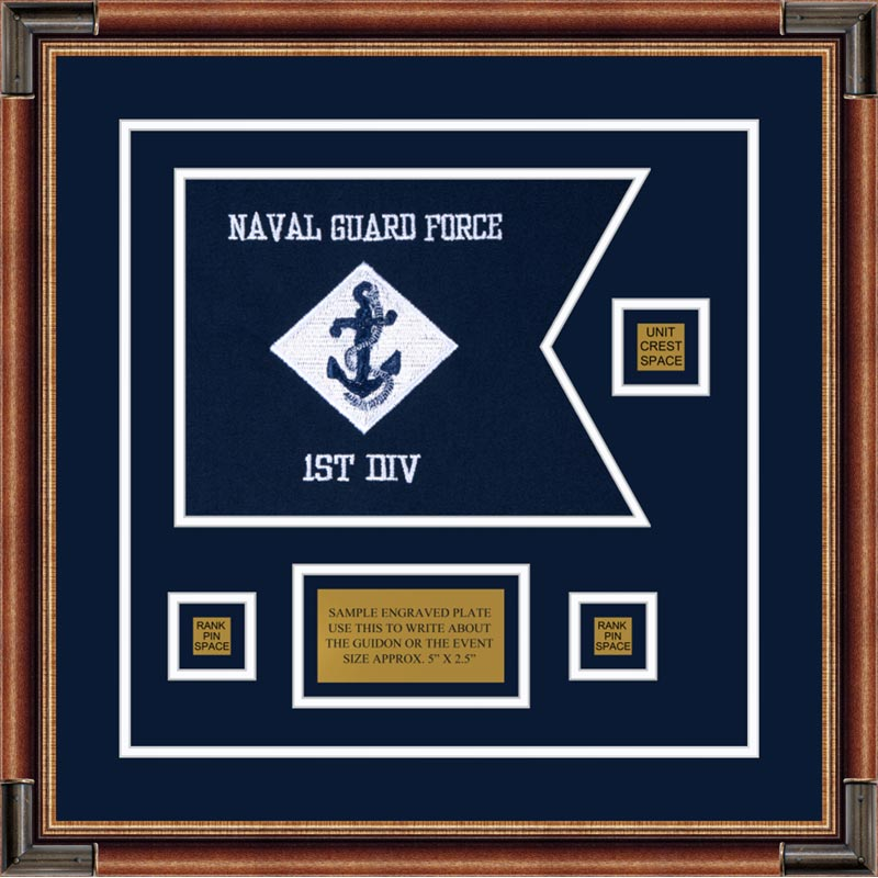 "Navy 12"" x 9"" Guidon Design 129-D2-M1"