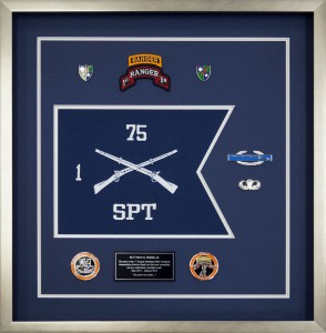 Example of a ranger shadow box with guidon - 1st Battalion, 75 Regiment