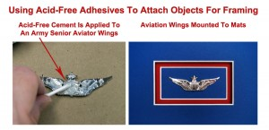 Illustration Showing Application of Acid-Free Adhesives To Aviation Wing On The Left, And The Wings Mounted Inside Mat boards On The Right