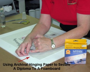 Archival Hinge Mounting A Diploma To An Acid-Free Foamboard
