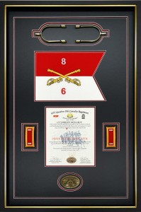 6 th Squadron, 8 th Regiment Military Shadow box with guidon and gold combat spurs