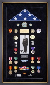 Complex Army Flag Display Case custom designed to reflect a soldier's distinguished military career.