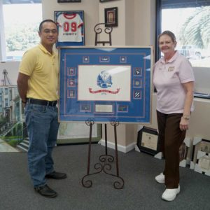 Quality Custom Military Framing - A Happy Custom Picks Up His Flag Shadow box