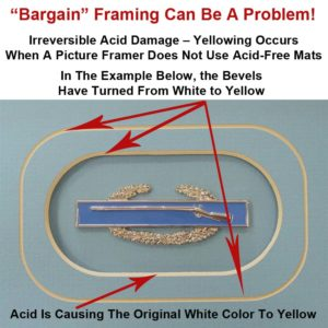 Example shows that not using acid-free mats causes yellowing—indicating the onset of permanent damage!