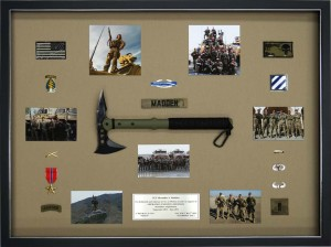 Military Shadow Box with Ranger Hawk Axe