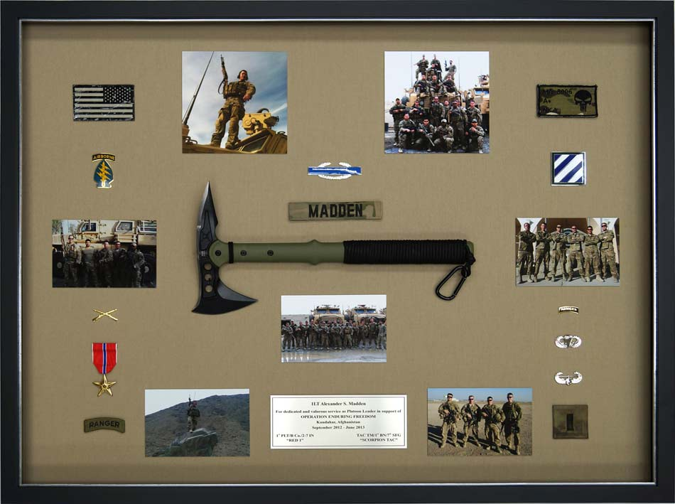 how to attach items in a military shadow box 2
