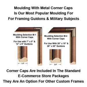 This is our most popular wood frame with corner caps - It is used for custom framing guidons and military art