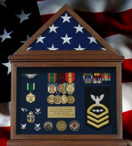Retirement Flag Display Case With Flag and Navy Memorabilia