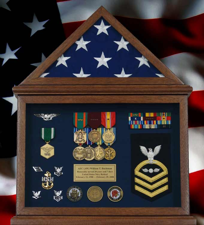 Retirement Flag Display Case With And Navy Memorabilia
