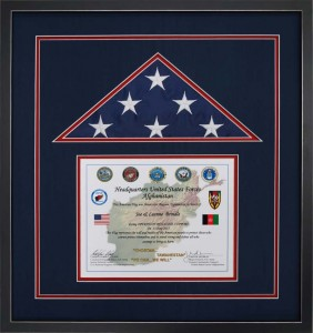 Example of a Simple Custom Designed and Custom Built Flag Display Case.