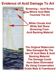 The browning effect in this watercolor of a sailboat shows clear evidence of damage from acid mats and acid backing.