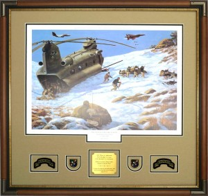Framed Ranger Print With Ranger Memorabilia, Patches, and Insignia