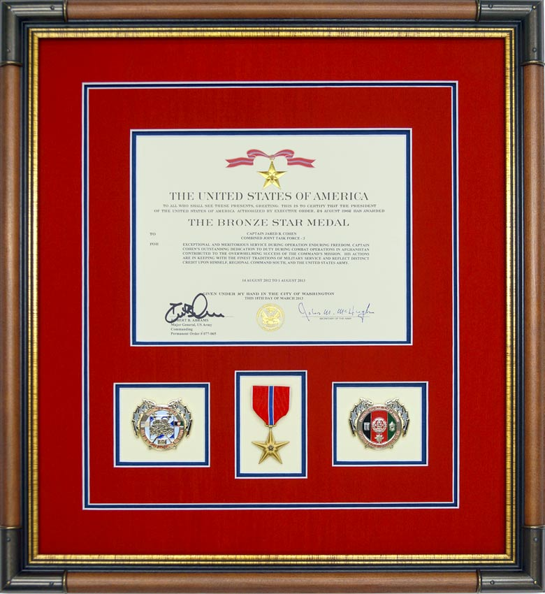 bronze star medal custom framed with award document and challenge coins