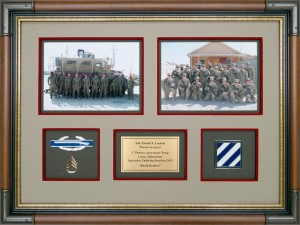 Military Deployment Photos With Rank, Combat Infantry Badge, Nameplate, and 3rd ID Insignia
