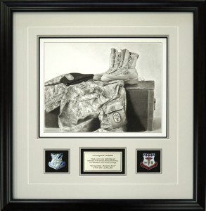 Custom Sketch By Mike Cherry Custom Framed With Insignias and Nameplate