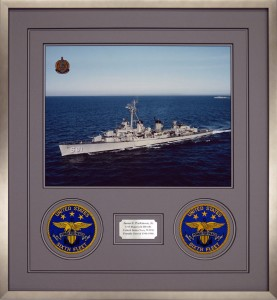 Framed Naval Ship Photograph With Patches And Nameplate