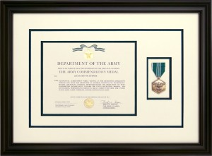Custom Framed Army Commendation Medal With Award Document
