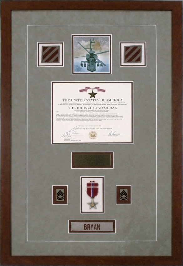 custom framed military medals bronze star medal with patches ribbon and nameplate