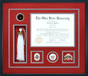 A Custom Ohio State University Diploma Frame With Memorabilia