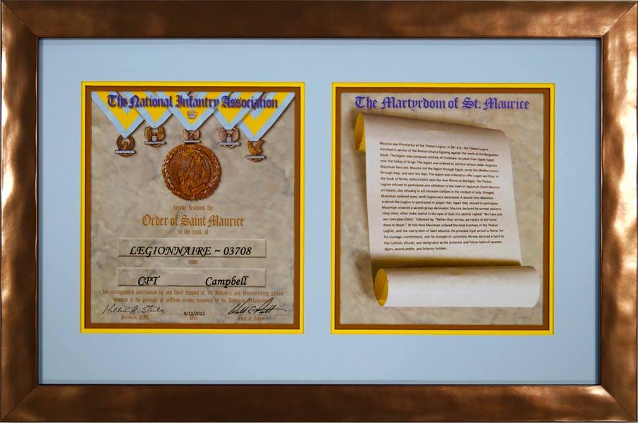 Order Of Saint Maurice Custom Framed Certificate Framed
