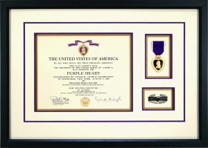 Military Medals - Purple Heat Custom Framed With Combat Action Badge