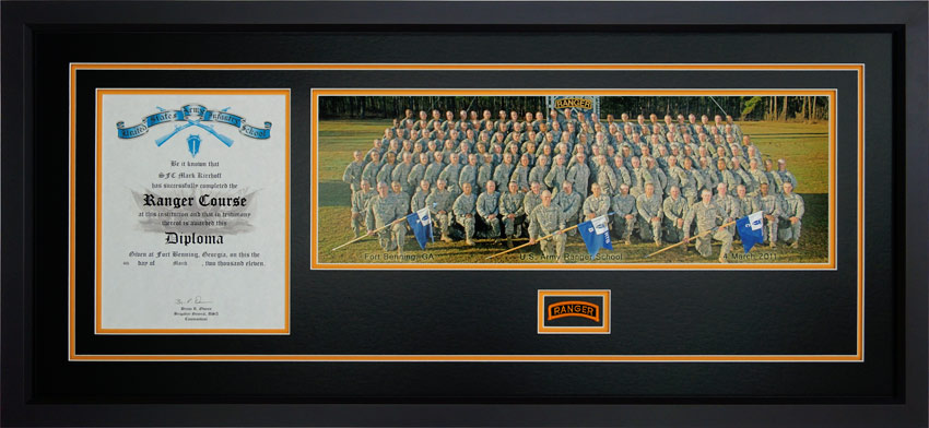 ranger school diploma frames include photos and tabs and unique customization