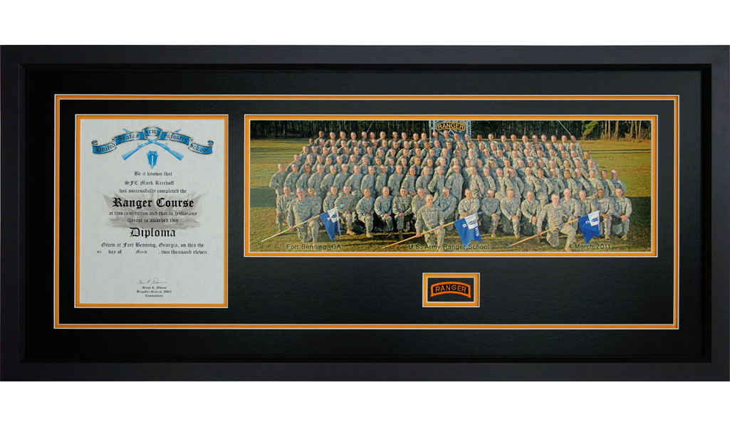 Ranger School Diploma Frame With Photo And Tab - Framed Guidons
