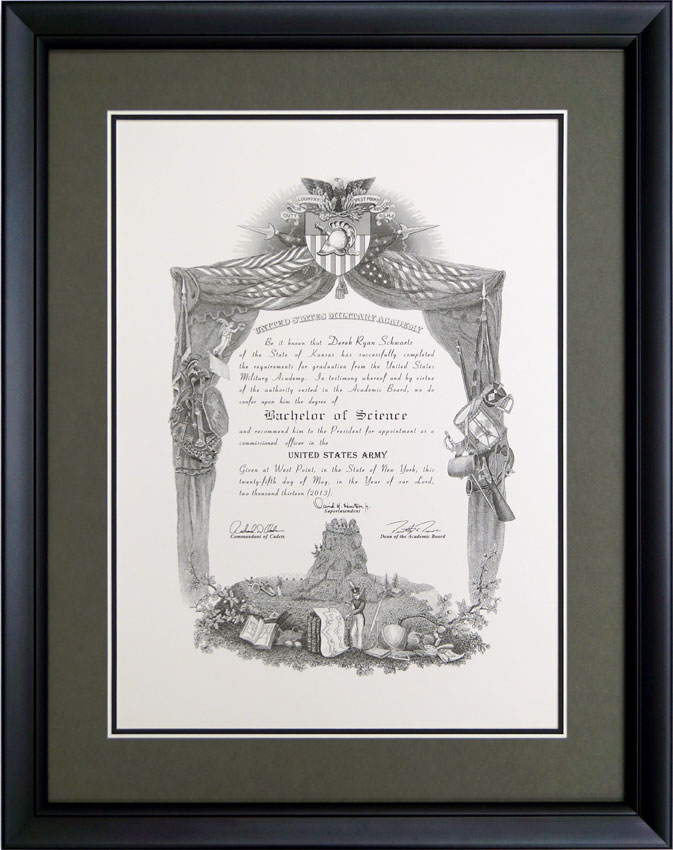 Simple Version West Point Diploma Frame - Framed Guidons