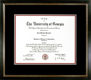 Custom Framed University of Georgia Diploma Example