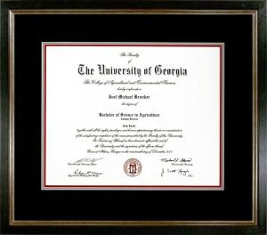 Custom Framed University of Georgia Diploma Example