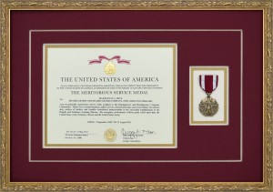 Military Medals - Meritorious Service Medal Custom Framed With Award Document