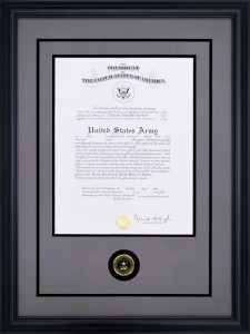 Custom Framing – Promotion Certificate Frame Example
