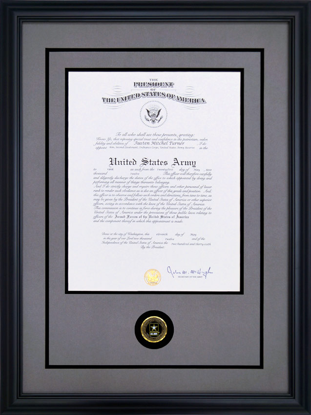 Custom Framed US Army Promotion Certificate - Framed Guidons