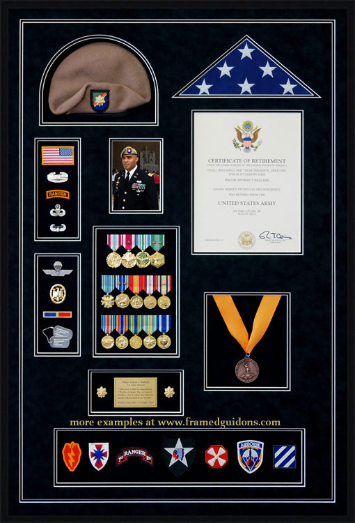 Gallery custom military shadow box examples framed guidons for Air force decoration examples