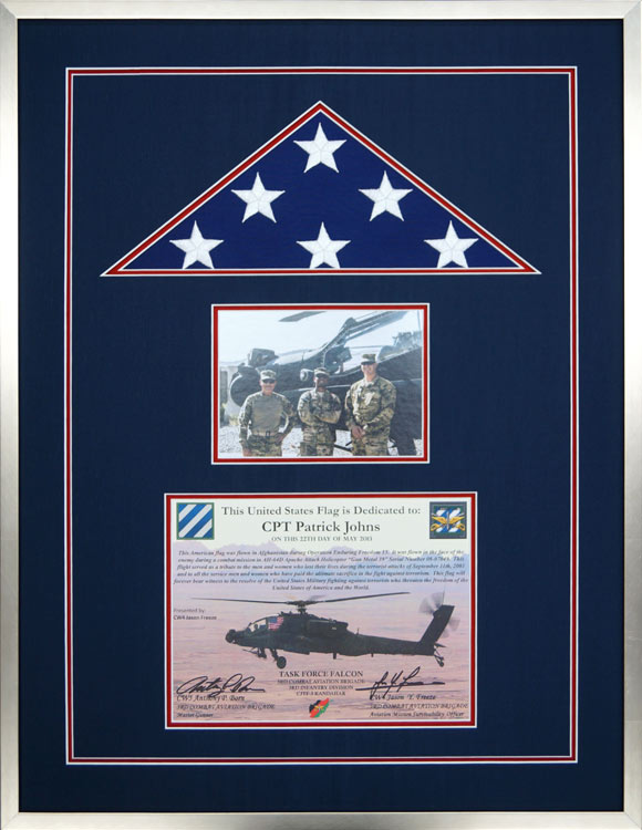 Flag Display Case Example For An American Flown On A Combat Mission
