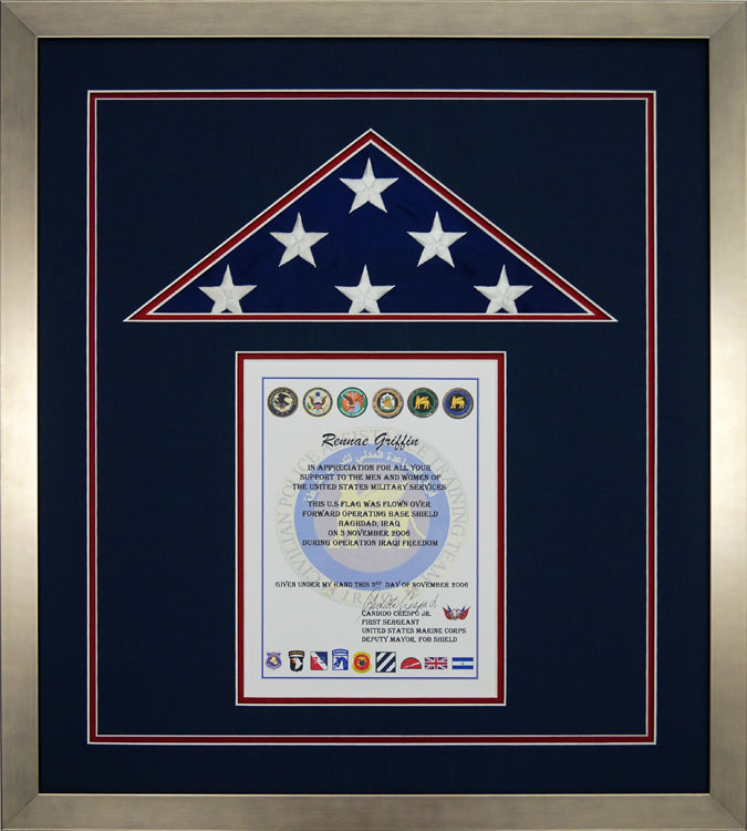 American Flag Flown During Operation Iraqi Freedom - Framed Guidons