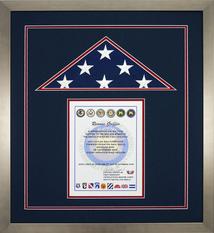 gallery – custom flag display case examples - framed guidons