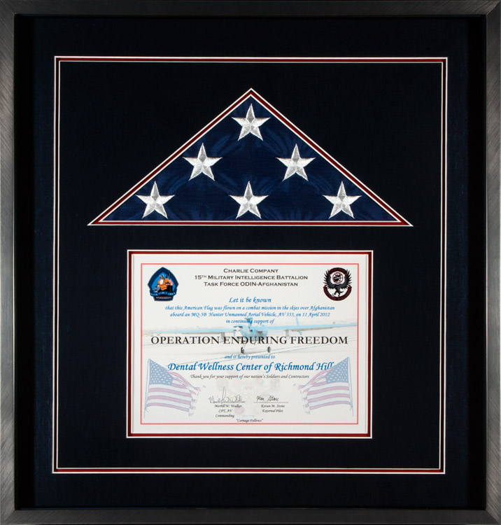 Flag Display Case That Contains A Flown By The 15th Military Intelligence Battalion
