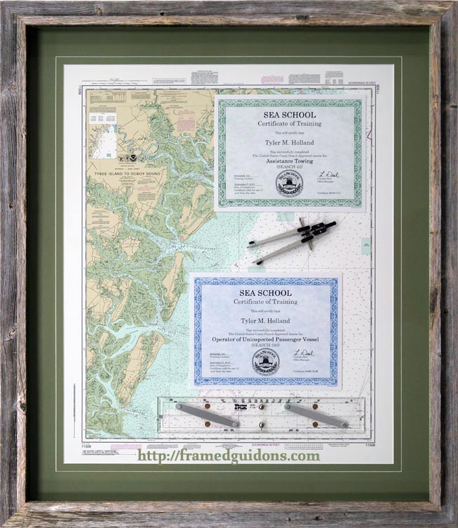 Framed Nautical Certificates Of Training With Chart  Example Of Award Certificate