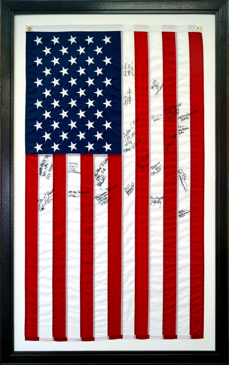 Gallery custom flag display case examples framed guidons for Proper us flag display