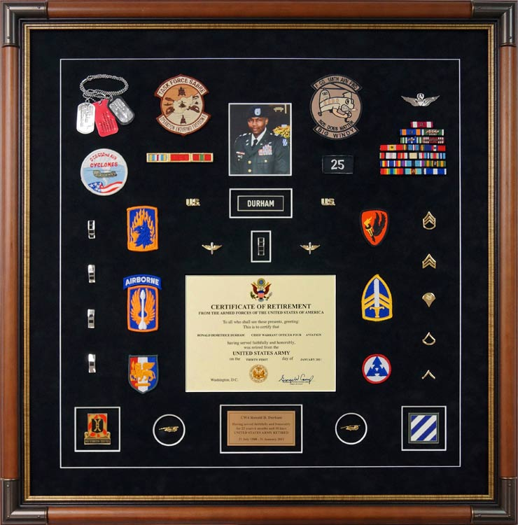 how to attach items in a military shadow box 3