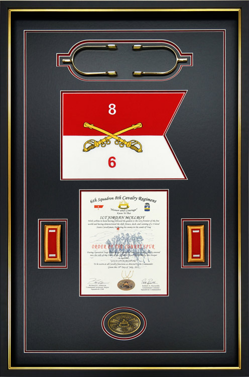 Military Shadow Box Example With Gold Cavalry Spurs And