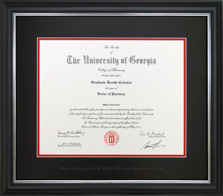 UGA Doctor of Pharmacy Diploma Framed - Framed Guidons