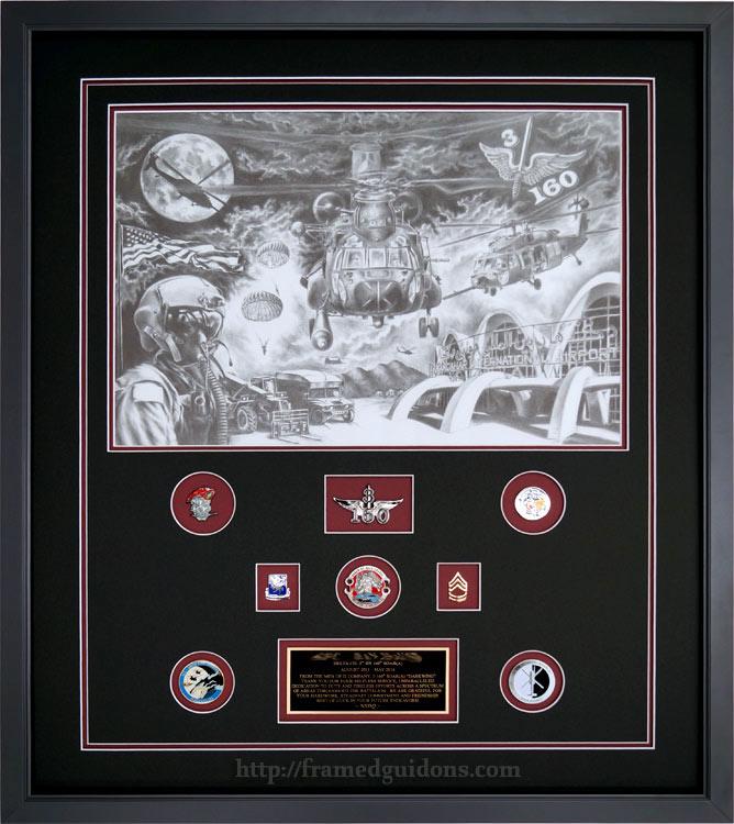 3rd Battalion 160th Soar Framed Sketch Framed Guidons