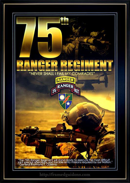 75th ranger regiment framed poster framed guidons