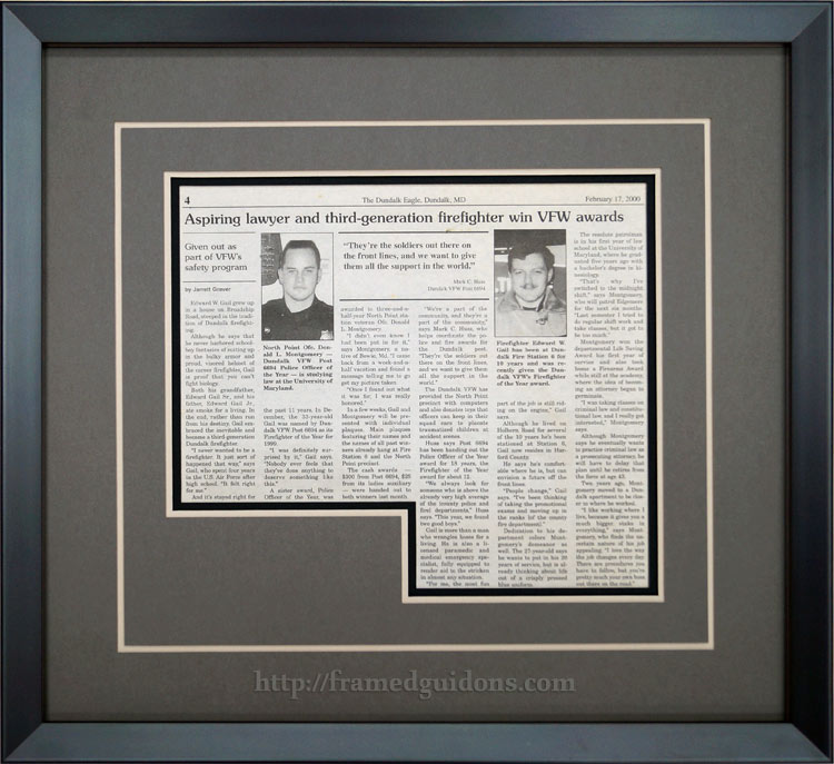 custom framed newspaper article don montgomery