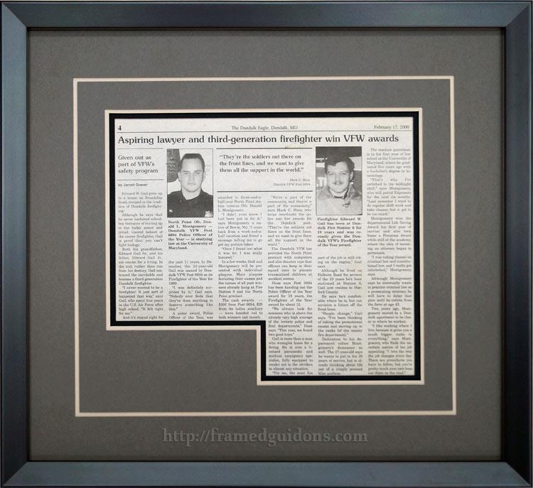 Custom Framed Newspaper Article – Don Montgomery - Framed Guidons