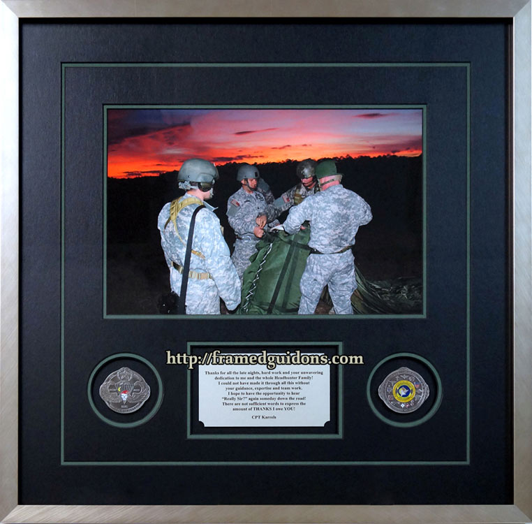 Custom Framed Night Jump Qualification Photo With Coins